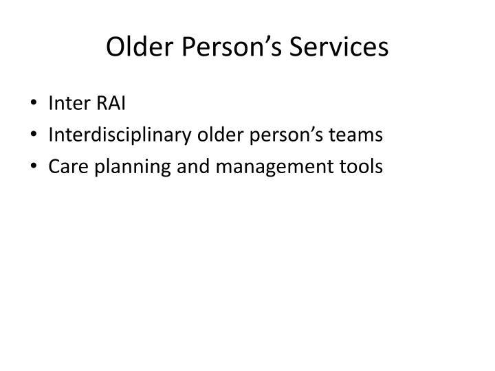 Older Person's Services