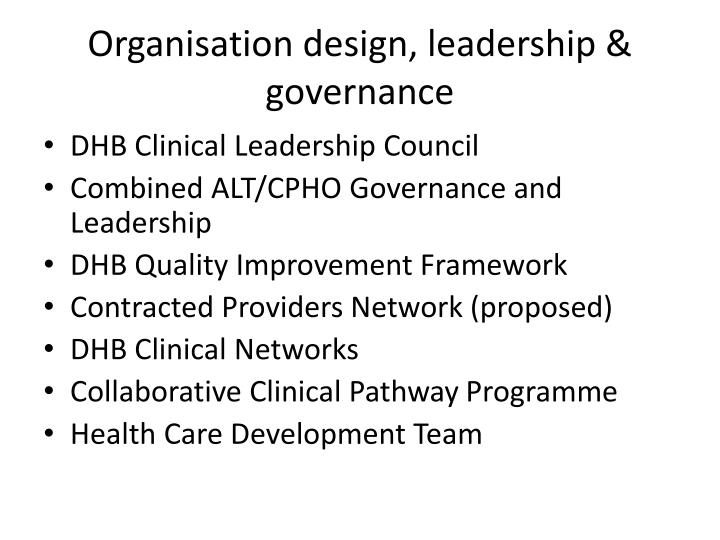 Organisation design, leadership & governance