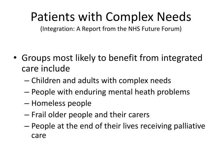 Patients with Complex Needs