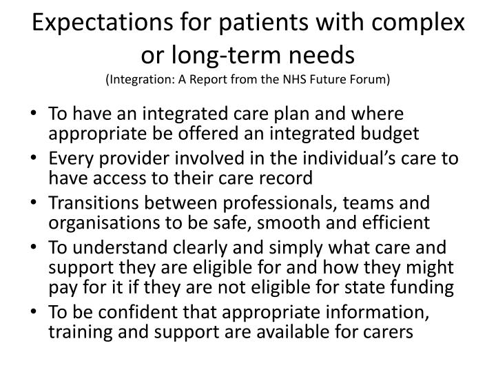 Expectations for patients with complex or long-term needs