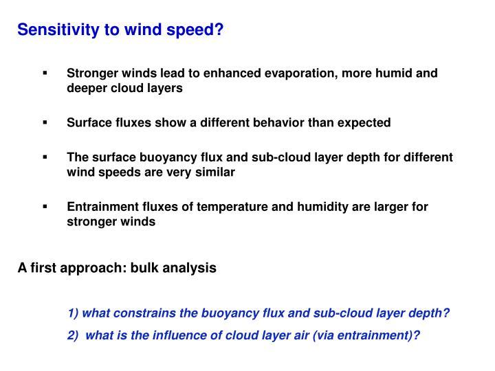 Sensitivity to wind speed?