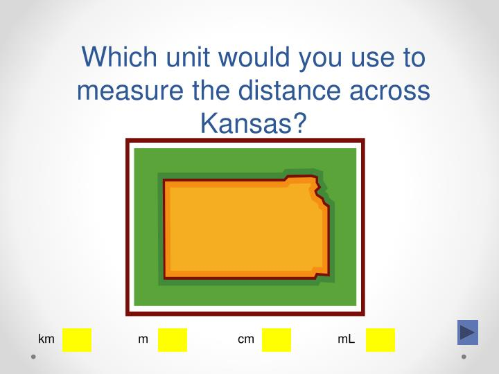 Which unit would you use to measure the distance across Kansas?