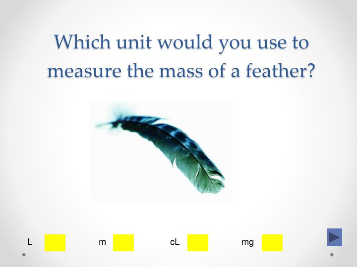 Which unit would you use to measure the mass of a feather?