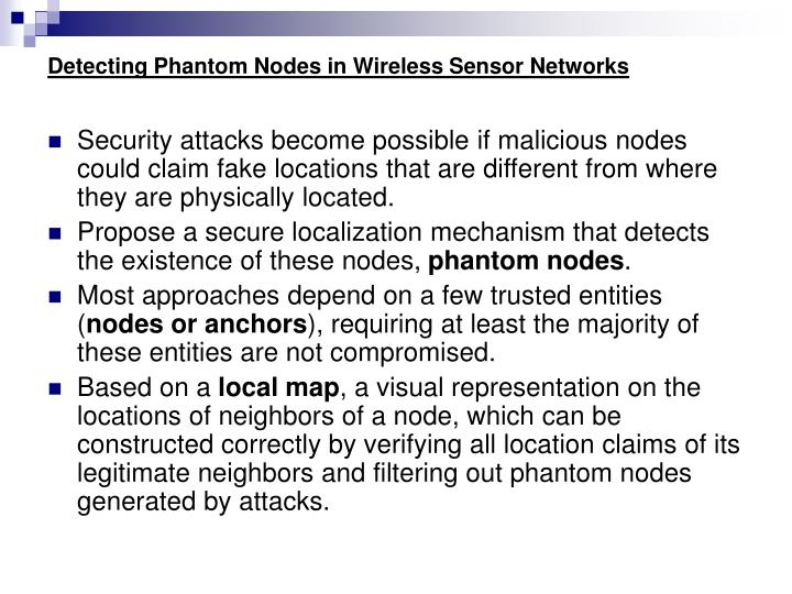 Detecting phantom nodes in wireless sensor networks1