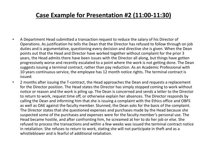Case Example for Presentation #2 (11:00-11:30)