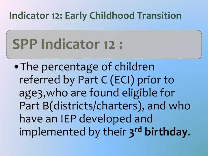 Indicator 12: Early Childhood Transition