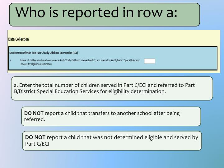 Who is reported in row a: