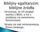 biblijny egalitaryzm biblijne r d a