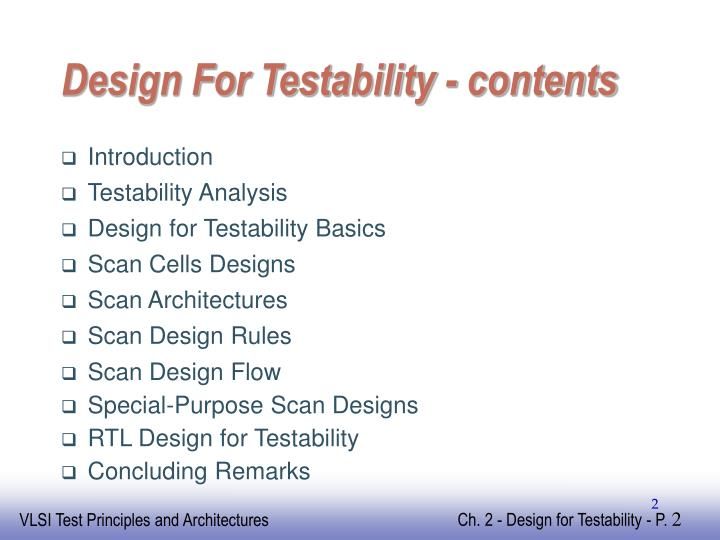 Design For Testability - contents