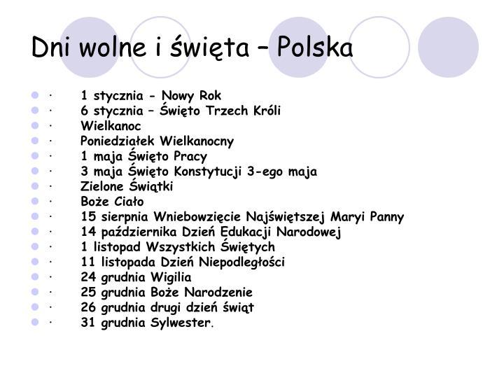 Dni wolne i święta – Polska