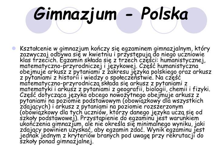 Gimnazjum - Polska