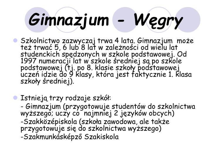 Gimnazjum - Węgry