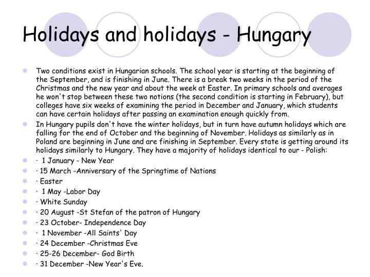 Holidays and holidays - Hungary