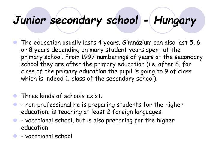 Junior secondary school - Hungary