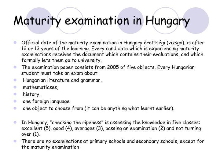 Maturity examination in Hungary
