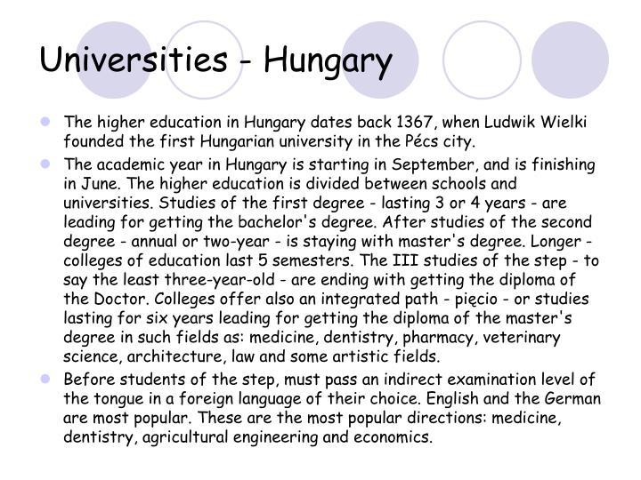 Universities - Hungary