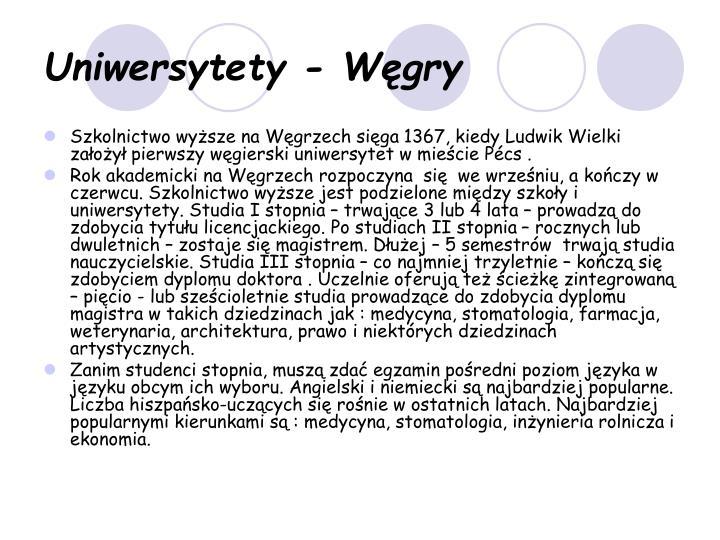 Uniwersytety - Węgry