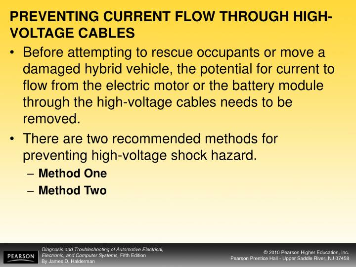 PREVENTING CURRENT FLOW THROUGH HIGH-VOLTAGE CABLES