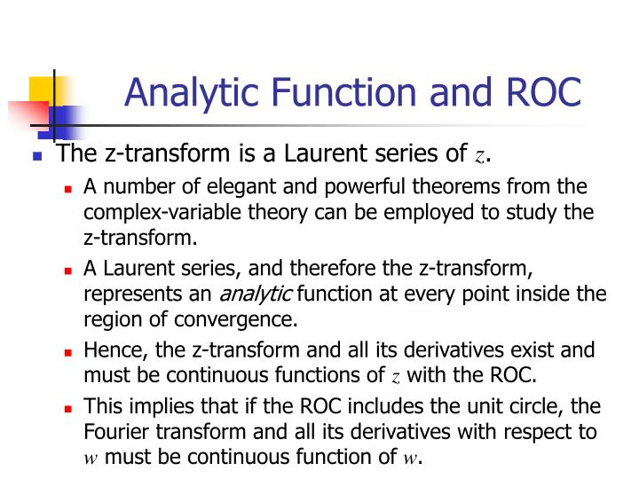 Analytic Function and ROC