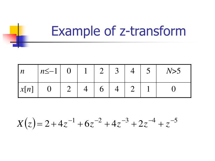 Example of z-transform
