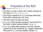 properties of the roc