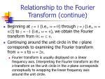 relationship to the fourier transform continue1