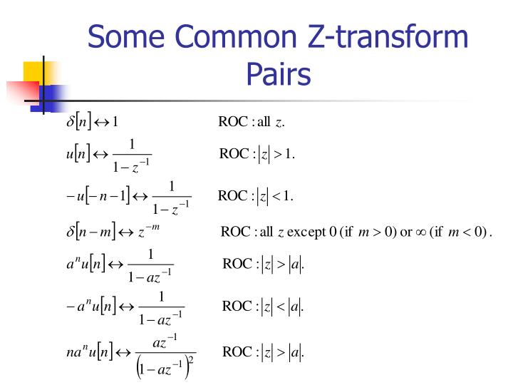 Some Common Z-transform Pairs