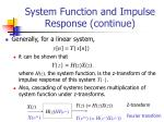 system function and impulse response continue