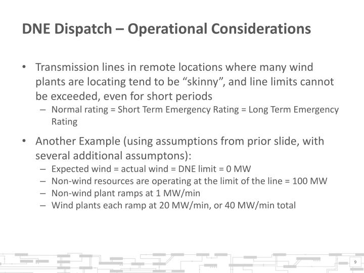 DNE Dispatch – Operational Considerations