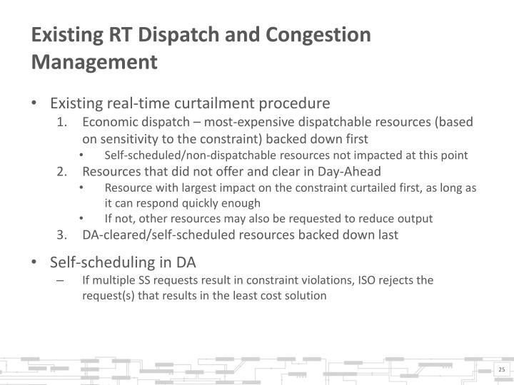 Existing RT Dispatch and Congestion Management