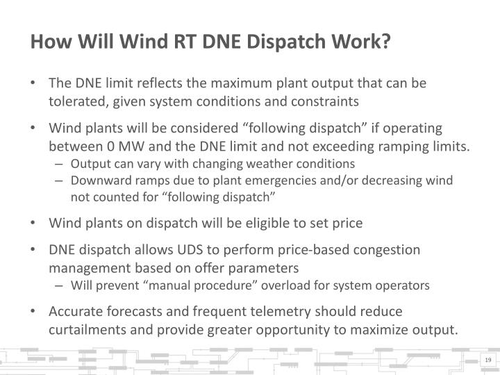 How Will Wind RT DNE Dispatch Work?