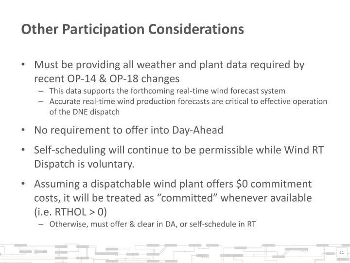 Other Participation Considerations