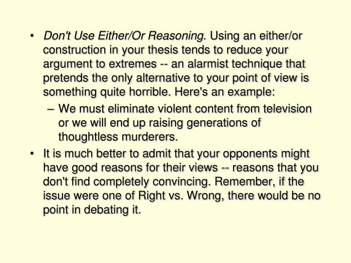 Don't Use Either/Or Reasoning
