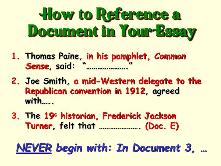 How to Reference a Document in Your Essay