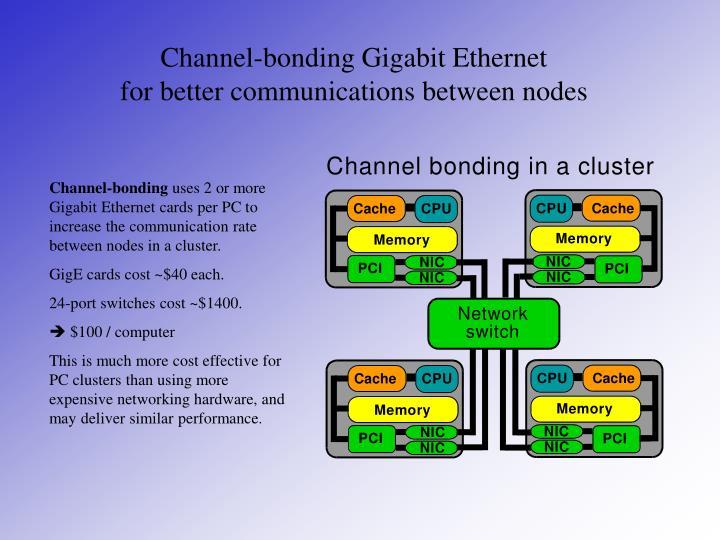 Channel-bonding Gigabit Ethernet         for better communications between nodes