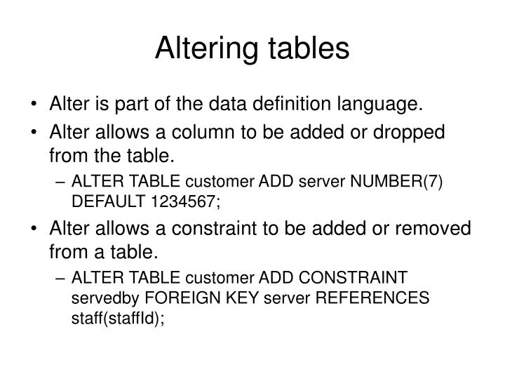 Altering tables