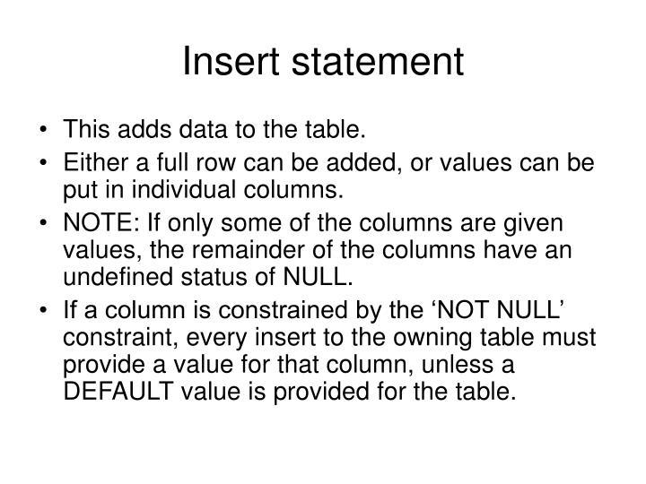 Insert statement