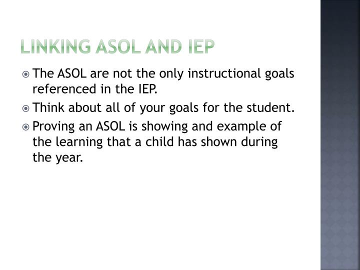 Linking ASOL and IEP