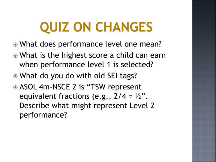 Quiz on Changes