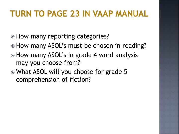 Turn to Page 23 in VAAP Manual