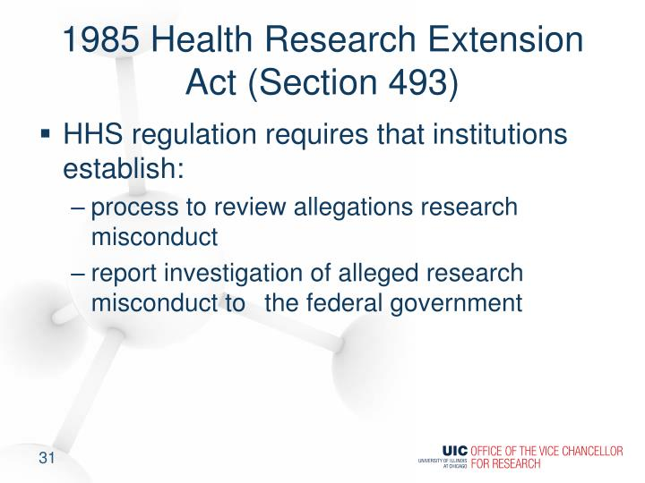 1985 Health Research Extension Act (Section 493)