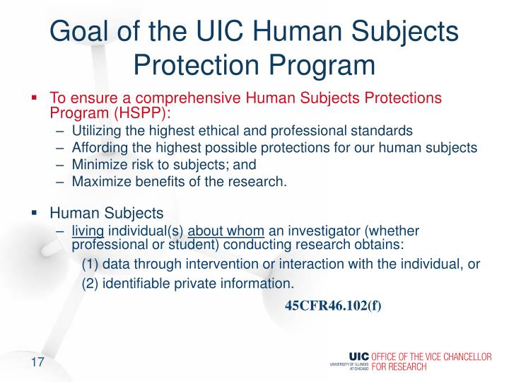 Goal of the UIC Human Subjects Protection Program