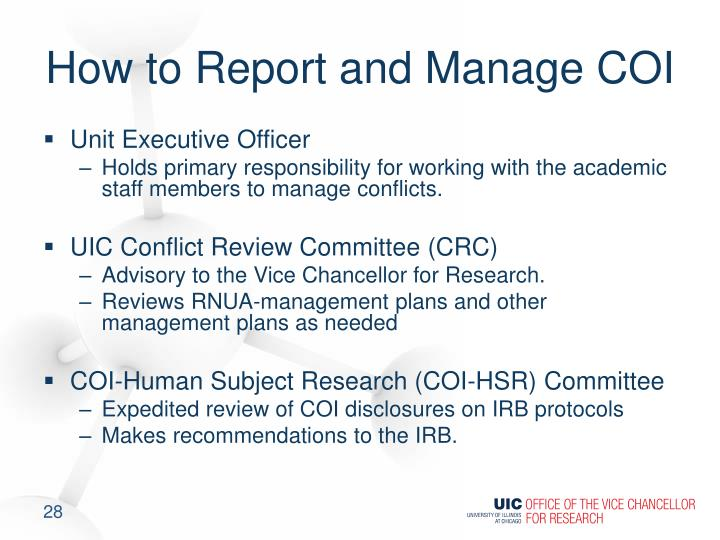 How to Report and Manage COI