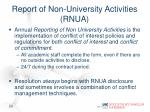 report of non university activities rnua