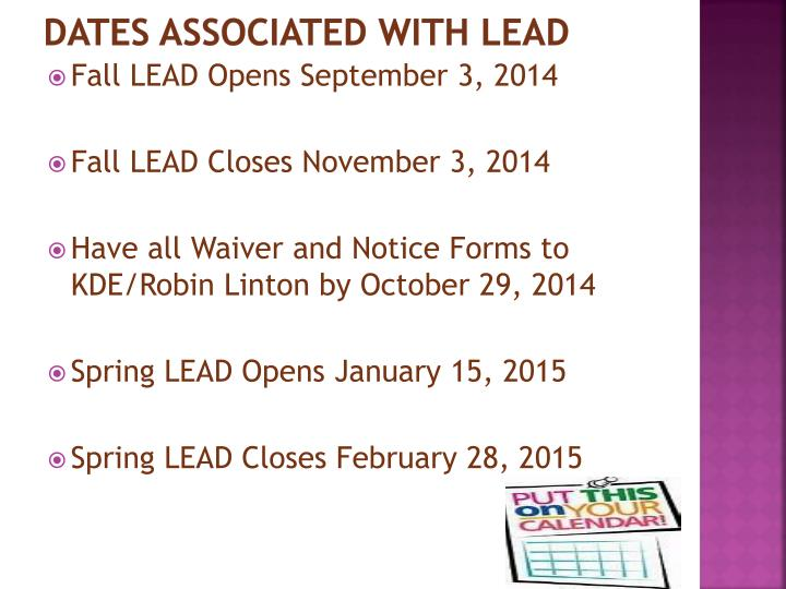 DATES Associated With LEAD