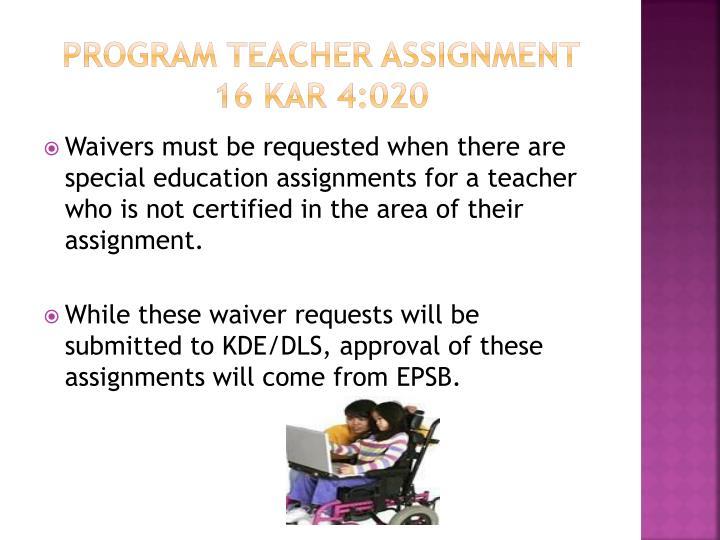 Program Teacher Assignment
