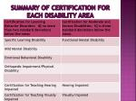 summary of certification for each disability area