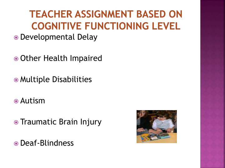 Teacher Assignment Based on Cognitive Functioning level