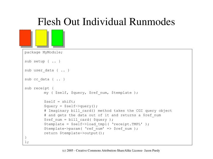 Flesh Out Individual Runmodes