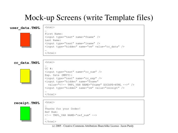 Mock-up Screens (write Template files)